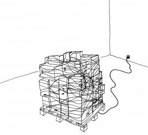 Clemens Leuschner, Introvertierter Boxenstapel, 2005, Filzstift auf Papier, 25 x 19 cm, Privatsammlung, Wien