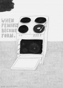 Werner Reiterer, When Feminism Becomes Form, 2009, Bleistift auf Papier, 70 x 50 cm, Sammlung Henrike Brandstötter, Wien, © VBK, Wien